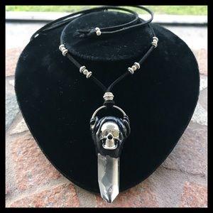 Crystal quartz polymer clay & skull necklace